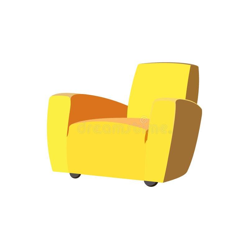 Un solo sofá amarillo vacío ilustración del vector