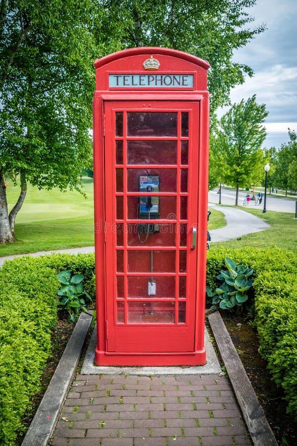 Un soporte del tel?fono de la atracci?n tur?stica del coto en la isla de Mackinac, Michigan imagenes de archivo