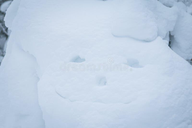 Un sorriso dipinto con un dito sulla neve fotografie stock libere da diritti
