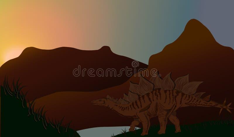 Un Stegosaurus énorme sauvage de dinosaure illustration libre de droits
