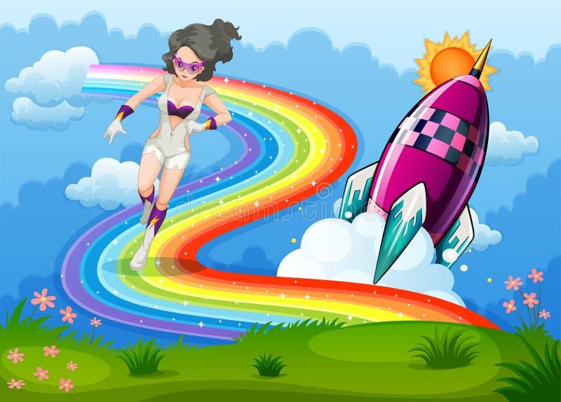 Un super héroe sobre el arco iris y un cohete libre illustration