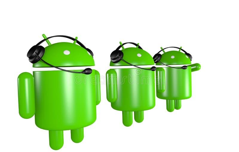 Un supporto dei tre robot del Android royalty illustrazione gratis