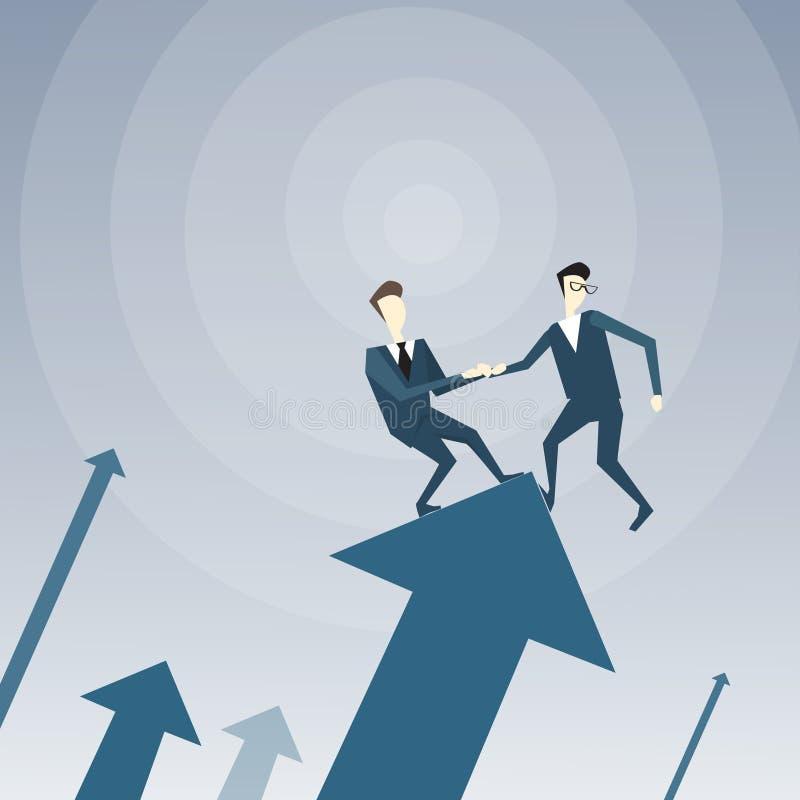 Un supporto di due uomini d'affari sulla freccia finanziaria su che si tiene per mano riuscito affare Team Development Growth illustrazione vettoriale