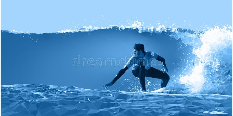 Un surfer glisse au-dessus des vagues dans le bas de clair de lune poly image libre de droits