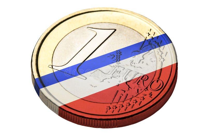 Un symbole français de drapeau d'euro pièce de monnaie images stock