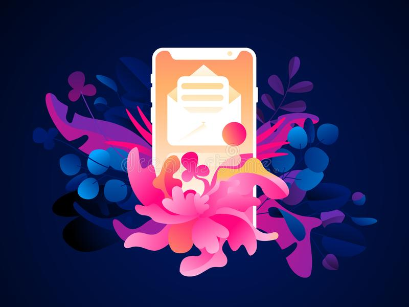 Un téléphone avec une icône de bulletin d'information sur un fond tropical Usines et feuilles exotiques à la mode plates Illustra illustration libre de droits