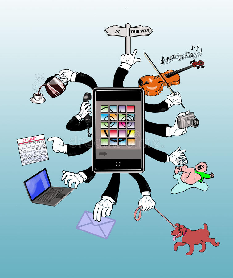 : Un téléphone intelligent et intelligent illustration stock