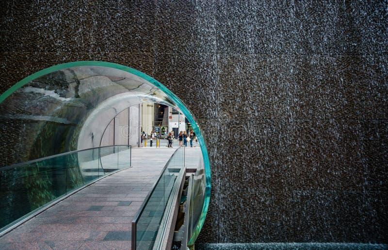 Un túnel de cristal en el corazón de Manhattan fotos de archivo
