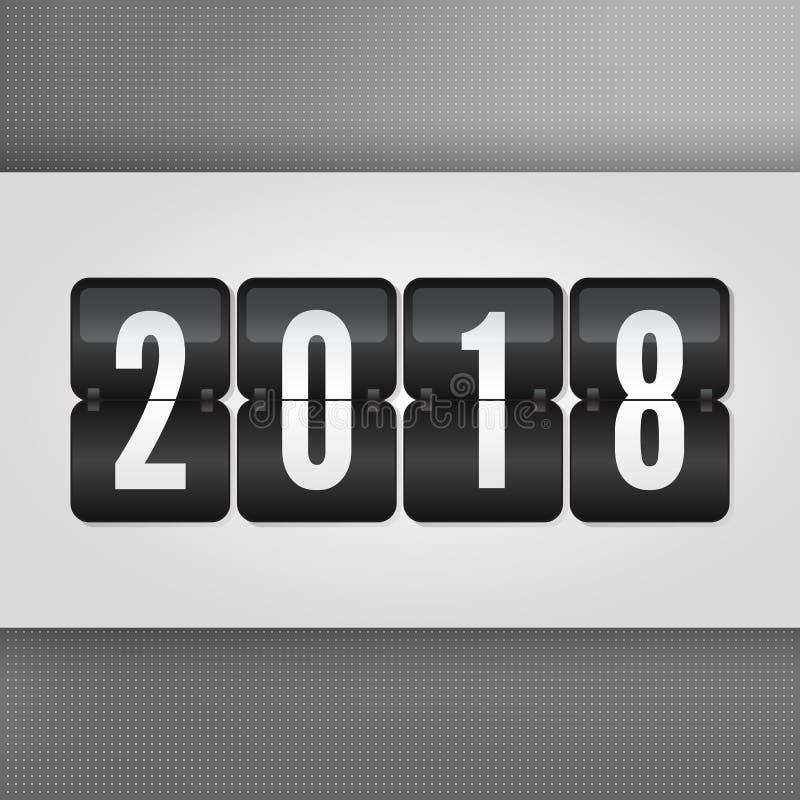 Un tabellone segnapunti da 2018 buoni anni Simbolo in bianco e nero grigio di vibrazione di vettore su fondo punteggiato Segno di royalty illustrazione gratis
