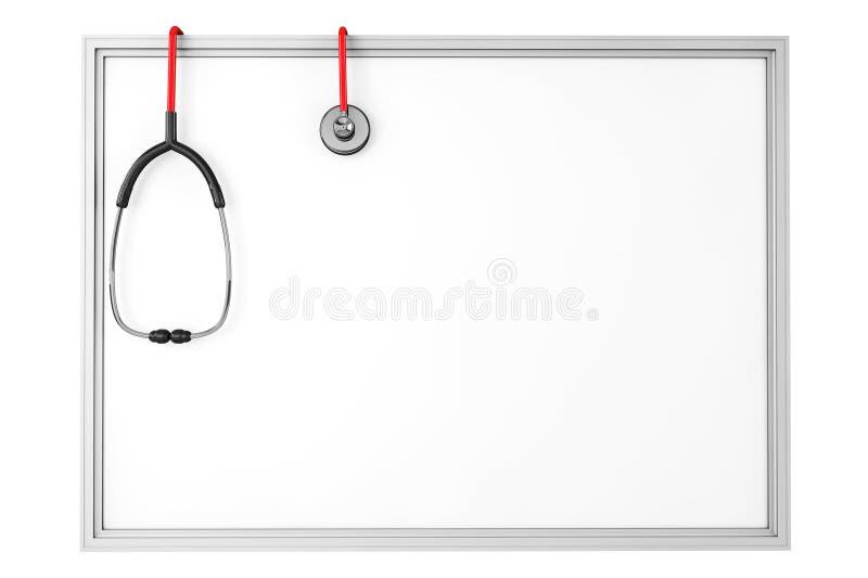 Un tableau blanc vide avec un stéthoscope illustration stock