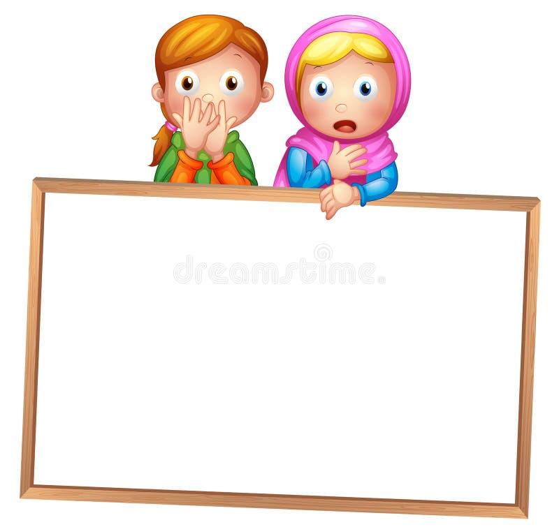 Un tablero blanco enmarcado vacío con dos muchachas stock de ilustración