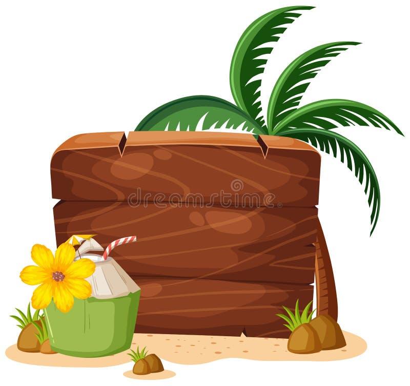 Un tablero de madera de la playa del verano ilustración del vector