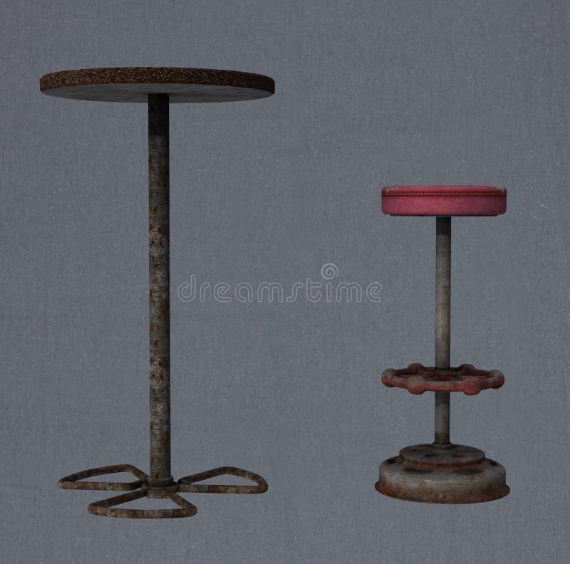 un tabouret de bar et une table illustration stock illustration du ruin vieux 55621750. Black Bedroom Furniture Sets. Home Design Ideas