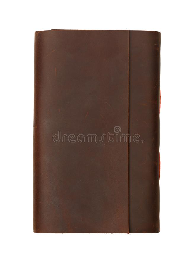 Un taccuino di cuoio della copertura isolato su bianco fotografie stock