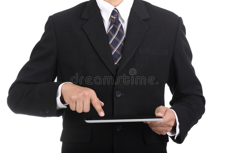 Un tacto más fino del uso del hombre de negocios incluye la trayectoria de recortes foto de archivo