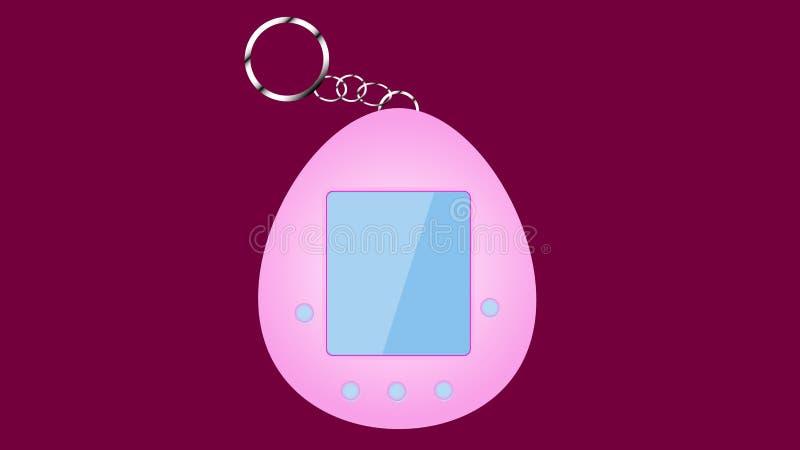Un tamagochi electrónico del juguete del viejo del vintage inconformista retro rosado de la antigüedad bajo la forma de huevo, 80 ilustración del vector