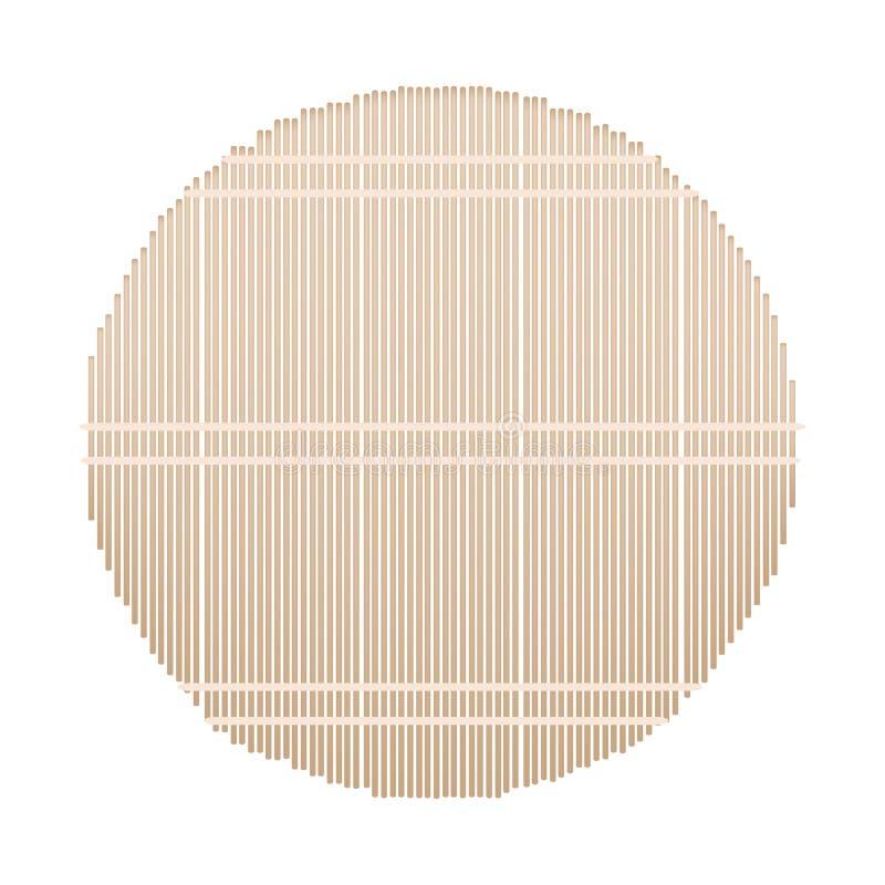 Un tapis en bambou rond sur le fond blanc illustration libre de droits