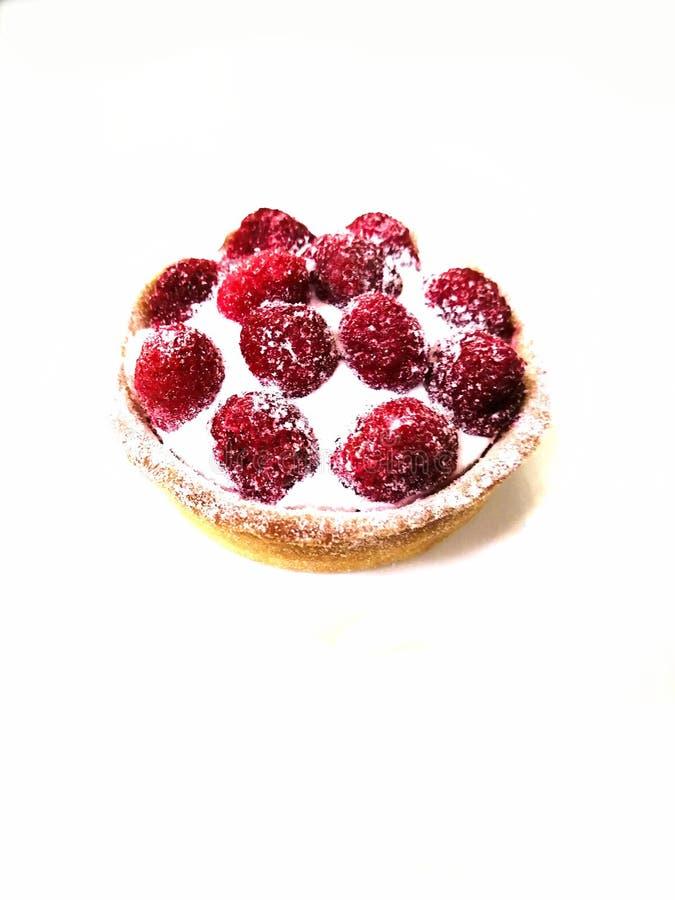 Un tartlet una torta de la frambuesa con crema en una placa blanca en una placa blanca imagen de archivo