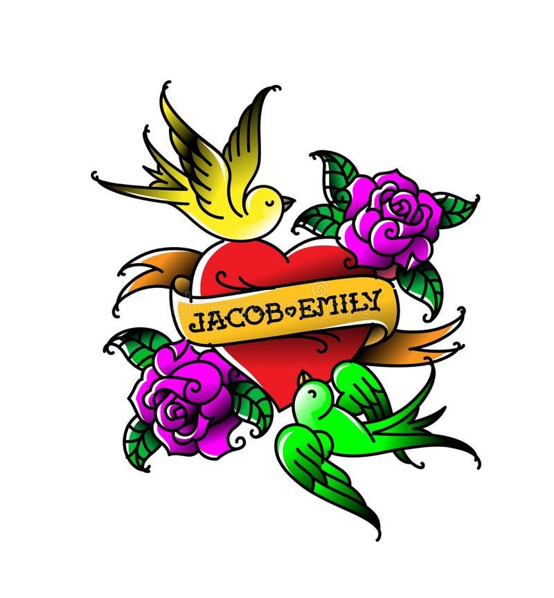 Un tatouage avec un coeur et fleurs et oiseaux Tatouage dans le style de la vieille école américaine Tatouage plat de vecteur Gar illustration de vecteur
