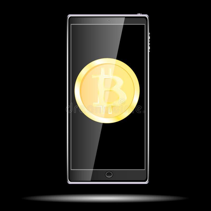 Un teléfono móvil delgado sensible al tacto elegante móvil realista negro grande con una sombra con un bitcoin de la moneda de or stock de ilustración