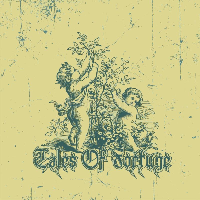 Un tema del disegno medievale: l'immagine di due bambini che selezionano i fiori illustrazione vettoriale