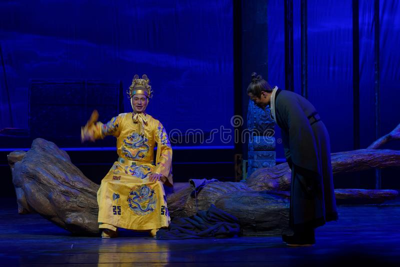 Un tercer acto de la audiencia-: la noche del drama histórico montaña-grande del acantilado, ` Yangming ` de tres noches foto de archivo