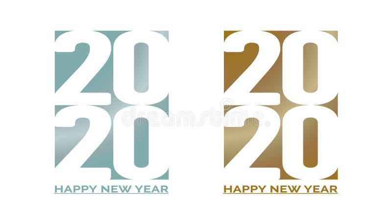 Un testo da 2020 buoni anni Copertura del diario di affari per 2020 nel blu del purista e nel colore alla moda giallo pieno di te illustrazione vettoriale