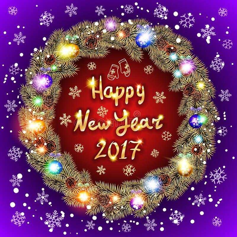 Un testo felice da 2017 nuovi anni per la cartolina d'auguri Ornamenti dorati e d'argento illustrazione vettoriale