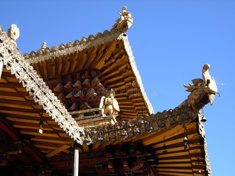 Un tetto fuori dal tempio di Jokhang immagini stock libere da diritti