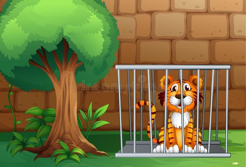Un tigre à l'intérieur de la cage animale illustration libre de droits