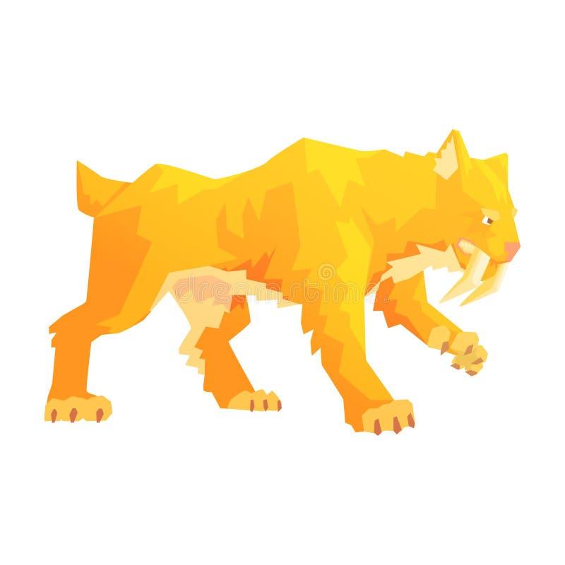Un tigre denté de sabre, un caractère d'âge de pierre, illustration colorée de vecteur illustration de vecteur