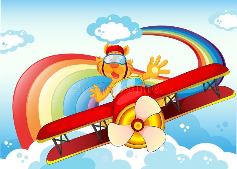 Un tigre sur un avion près de l'arc-en-ciel illustration de vecteur