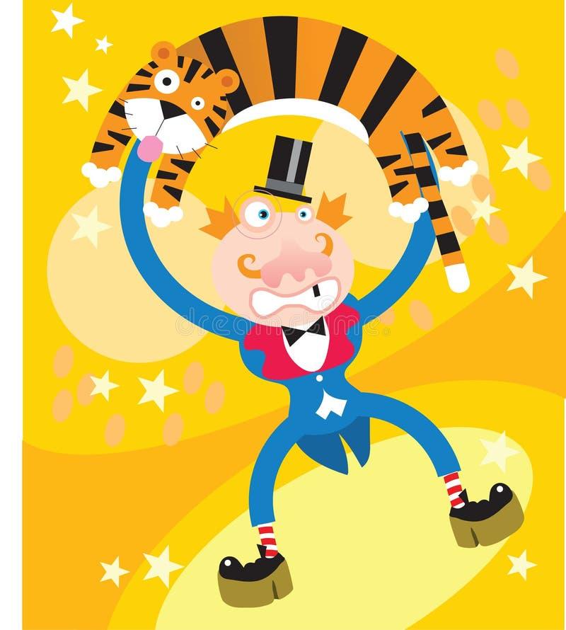 Un tigre y un hombre en circo stock de ilustración