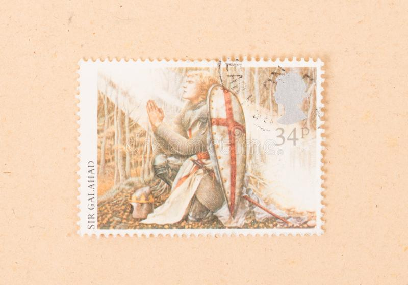 Un timbre imprimé au R-U montre une image de Sir Galahad, vers 1970 image stock
