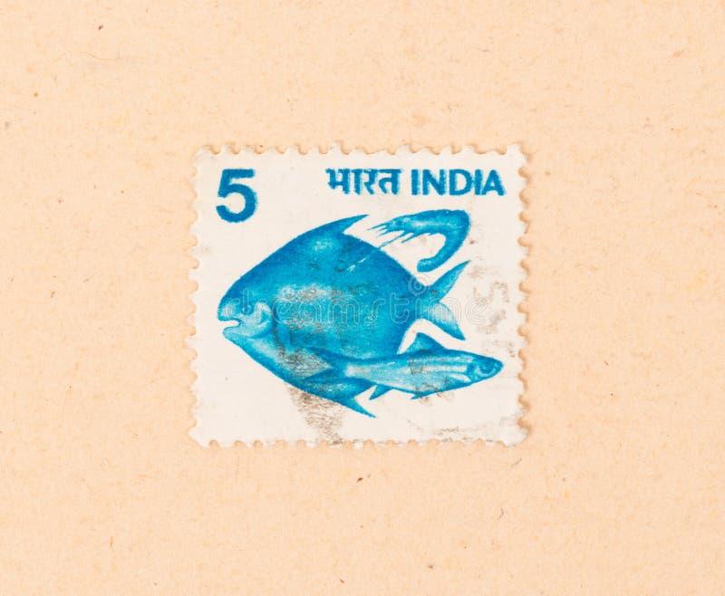 Un timbre imprimé en Inde montre quelques poissons, vers 1970 images stock