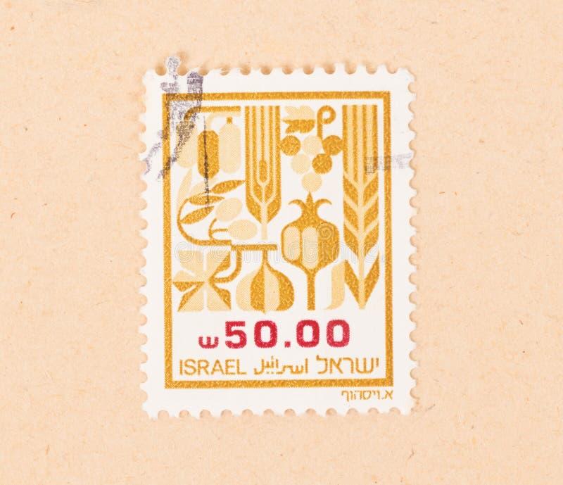 Un timbre imprimé en Israël montre plusieurs cultures, vers 1970 image libre de droits