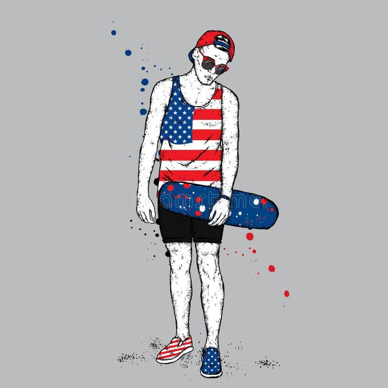 Un tipo bello con i vetri, un cappuccio, gli shorts e una maglietta Il pattinatore Un ragazzo con un pattino adolescente Pantalon illustrazione vettoriale