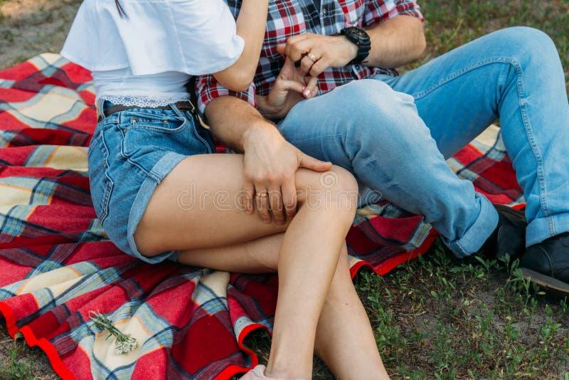 un tipo e una ragazza stanno sedendo su un velo del plaid sull'erba, sull'abbracciare e sul baciare un uomo in camicia e jeans di fotografia stock