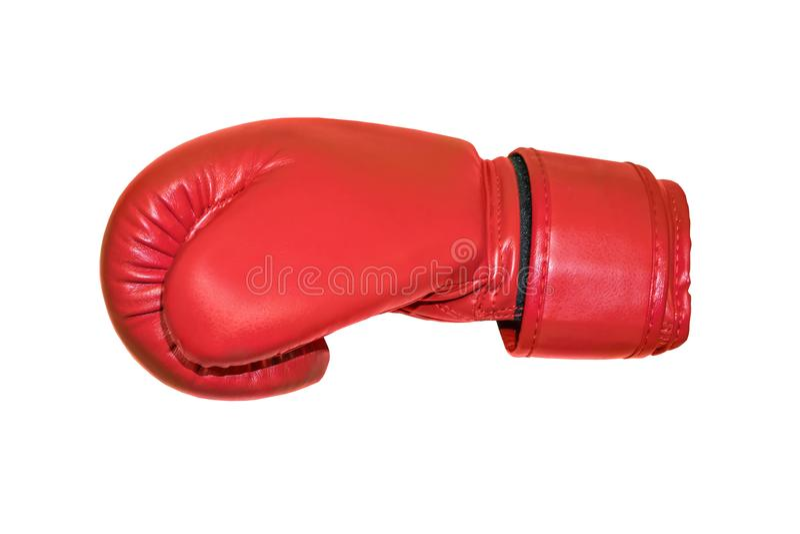 Un tir de studio d'un gant de boxe rouge d'isolement photo libre de droits