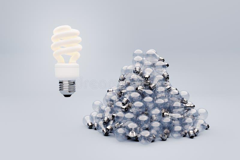 Un tiro más oscuro del bulbo fluorescente sobre el tungsteno imagen de archivo libre de regalías