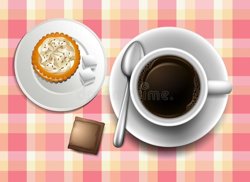 Un topview d'une table avec du café, le biscuit et une crémeuse illustration de vecteur