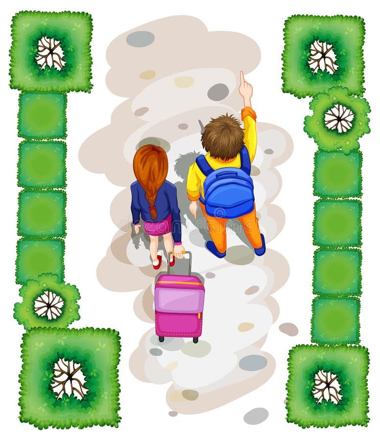 Un topview des étudiants au parc illustration stock