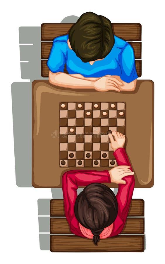 Un topview di due genti che giocano un gioco da tavolo illustrazione di stock