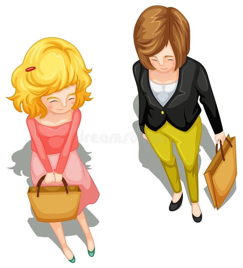 Un topview di una bambina e di una donna royalty illustrazione gratis
