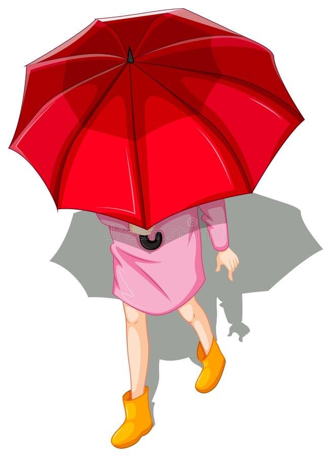 Un topview di una donna che per mezzo dell'ombrello illustrazione di stock