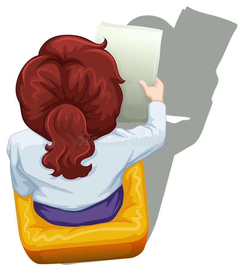 Un topview di una donna che si siede illustrazione di stock