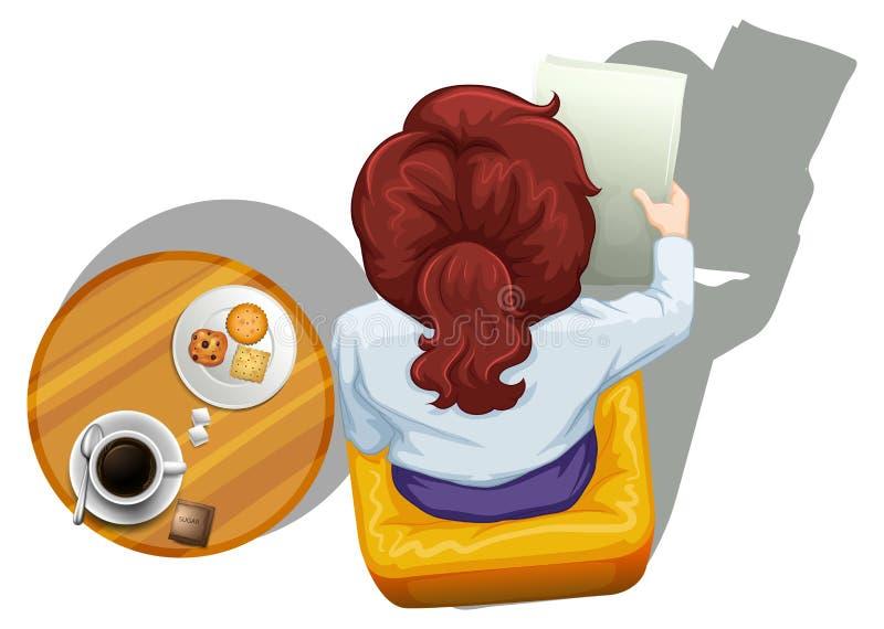 Un topview di una lettura della donna accanto alla tavola royalty illustrazione gratis