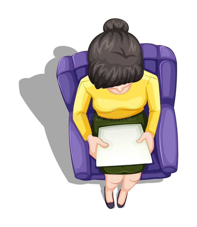 Un topview di una lettura della donna mentre sedendosi royalty illustrazione gratis