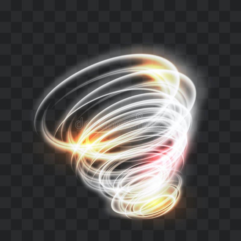 Un tornado d'ardore Vento girante Bello effetto di vento isolato su un fondo trasparente Illustrazione di vettore illustrazione vettoriale