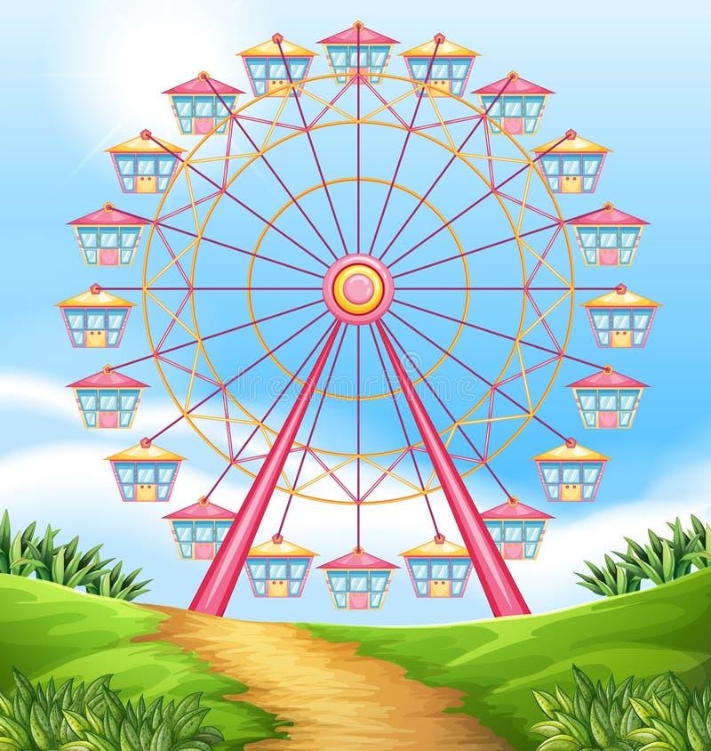 Un tour de roue de ferris illustration de vecteur